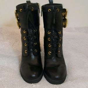 Ladies Black Leather High Heel Boots